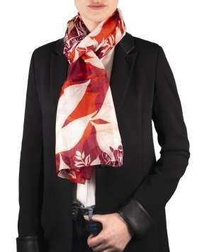 Foulard soie MAIA chrysant red femme